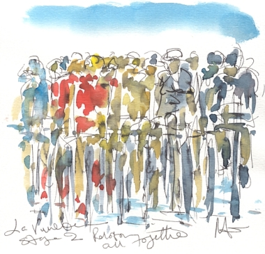 Maxine Dodd painting, Peloton all together