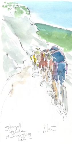 Maxine Dodd, Peloton climbing the hill