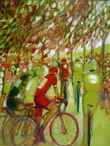 'Autumn race' first draft in oil, by Maxine Dodd