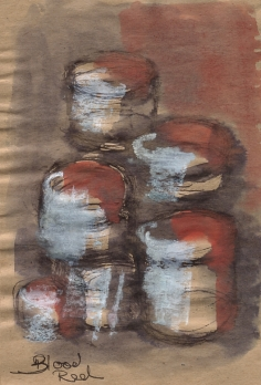 Blood red, mixed media study, pen, ink and white pastel on brown paper