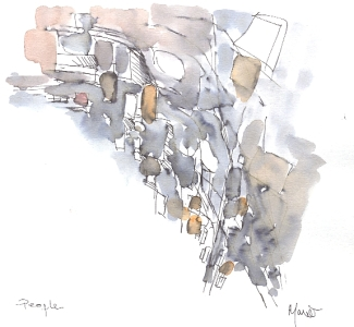 People, study in pen, ink and watercolour