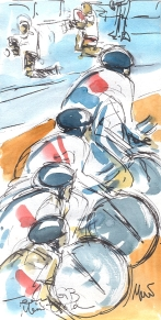 Maxine Dodd, Team GB Men's Gold, Watercolour, Pen & Ink