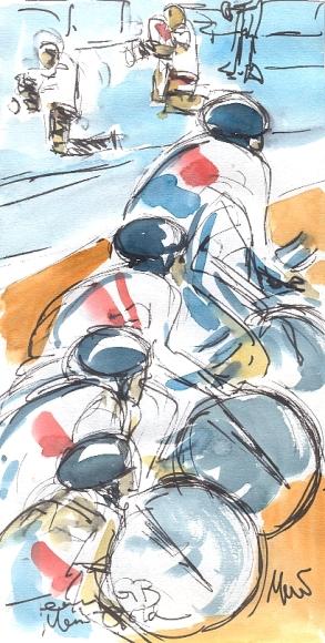Maxine Dodd, Team GB Men's Gold, Watercolour, Pen & Ink