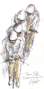 Maxine Dodd, Team GB Women's Gold, Watercolour, Pen & Ink