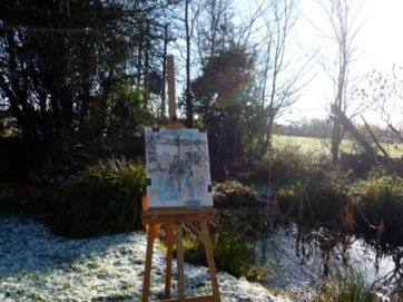 Easel by the pond, photograph, Maxine Dodd