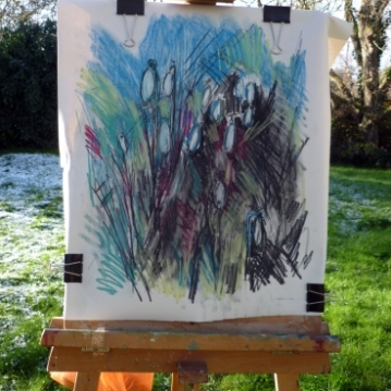 Snowdrops on easel, pastel, Maxine Dodd