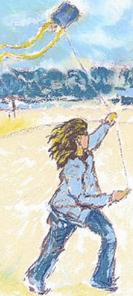 Flying her kite