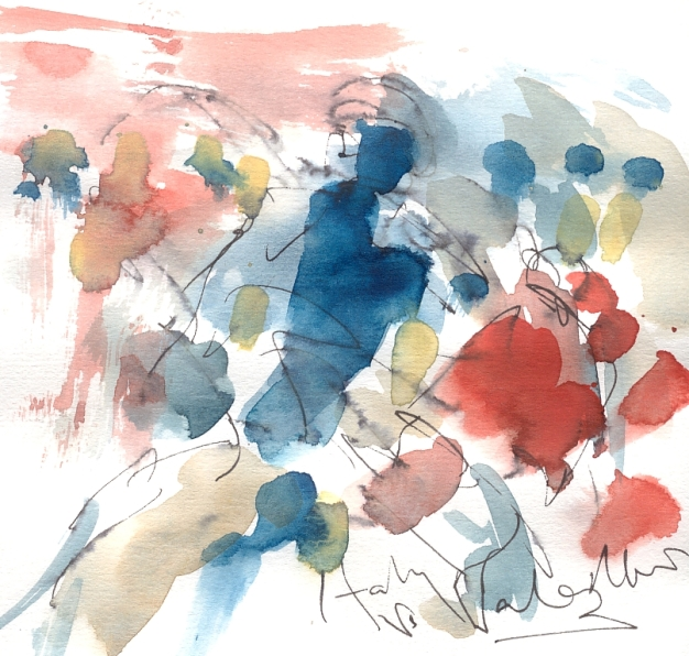 Six Nations Rugby, Art, painting by Maxine Dodd, Red mist, Italy v Wales
