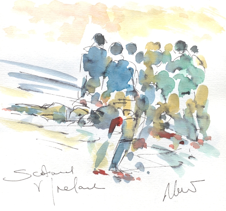 Six Nations Rugby, Art, painting by Maxine Dodd, Long shadows, Scotland v Ireland