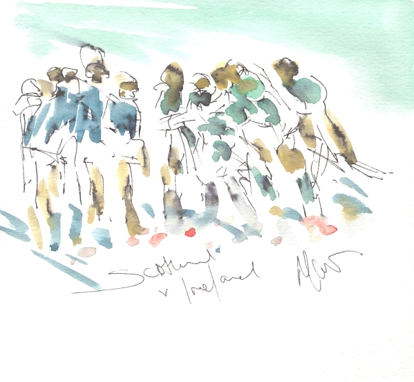 Six Nations Rugby, Art, painting by Maxine Dodd, Emerald sunshine, Scotland v Ireland