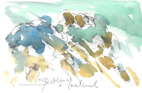 Six Nations Rugby, Art, painting by Maxine Dodd, Hard knocks, Scotland v Ireland