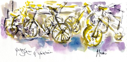 Cycling art, Tour de France, Yellow bikes of Yorkshire, by Maxine Dodd