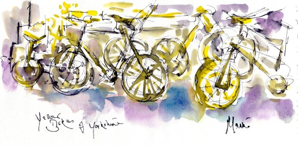 Yellow bikes of Yorkshire, by Maxine Dodd