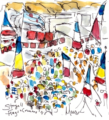 Flags and caravans, by Maxine Dodd