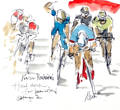 Nacer Bouhani, head down for the win, by Maxine Dodd,SOLD