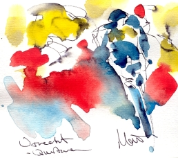 Cycling art, Tour de France, Watercolour painting Utrecht - Quintana by Maxine Dodd