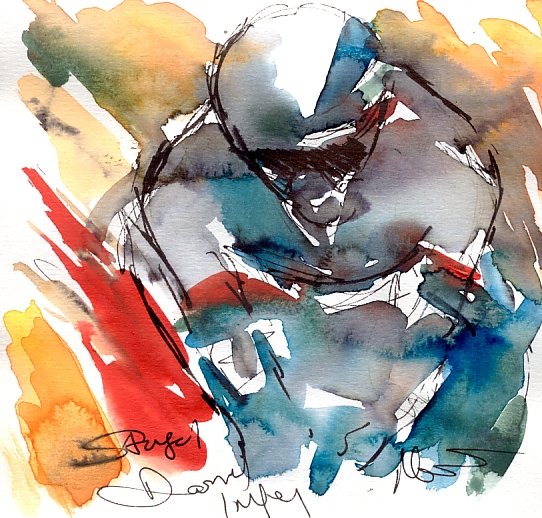 Cycling art, Tour de France, Watercolour painting Stage 1, Daryl Impey, by Maxine Dodd, watercolour, pen and ink