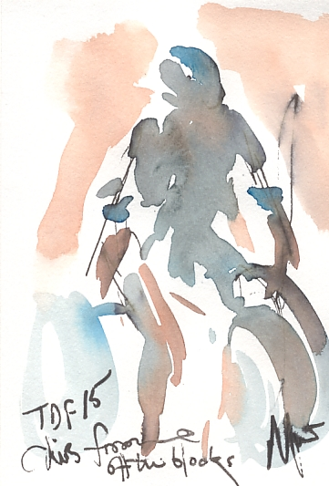 Cycling art, Tour de France, Watercolour painting TDF 2015, Chris Froome off the blocks, by Maxine Dodd