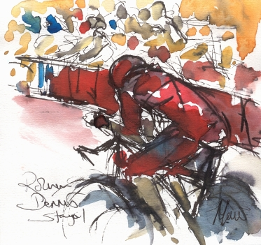 Cycling art, Tour de France, Watercolour painting Rohann Dennis, Stage 1 by Maxine Dodd,