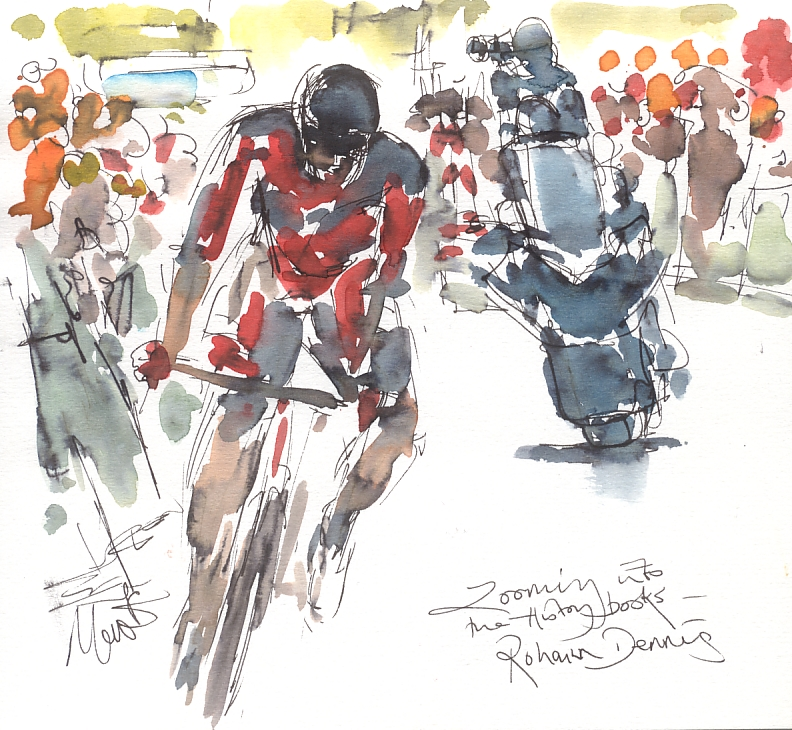 Cycling art, Tour de France, Watercolour painting Rohann Dennis, Zooming into the History Books by Maxine Dodd