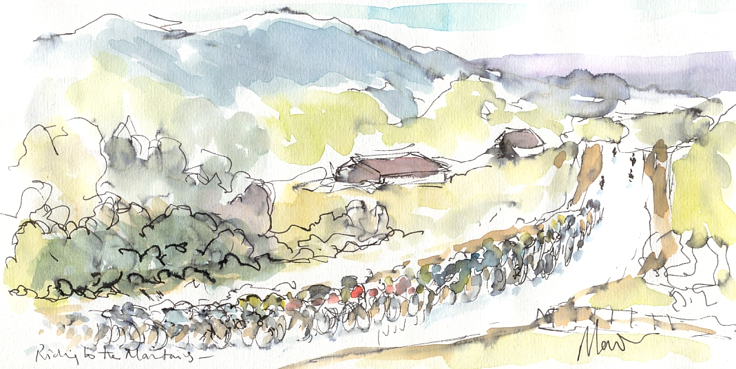 Cycling art, Tour de France, Watercolour painting Riding to the mountains, by Maxine Dodd