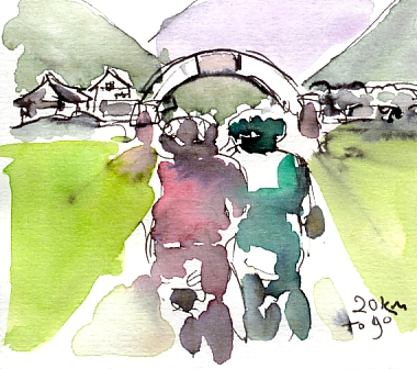 Cycling art, Tour de France, Watercolour painting 20km to go, by Maxine Dodd