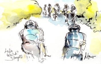 Cycling art, Tour de France, Watercolour painting Left behind? by Maxine Dodd