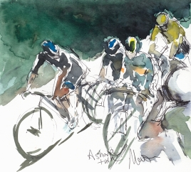 Cycling art, Tour de France, Watercolour painting A sharp turn, by Maxine Dodd