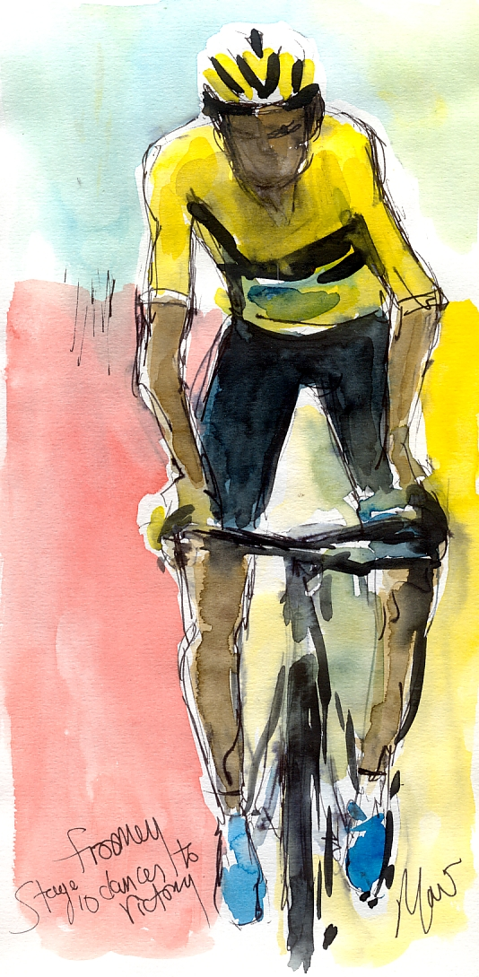 Cycling art, Tour de France, Watercolour painting Froomey dances to victory! by Maxine Dodd