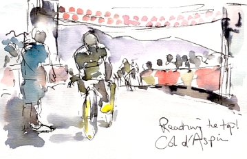 Cycling art, Tour de France, Watercolour painting Reaching the Col d'Aspin by Maxine Dodd