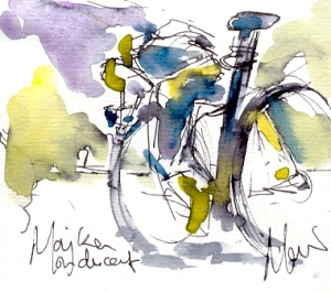 Cycling art, Tour de France, Watercolour painting Majka in descent by Maxine Dodd