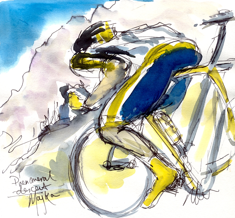 Cycling art, Tour de France, Watercolour painting Phenomenal descent by Maxine Dodd