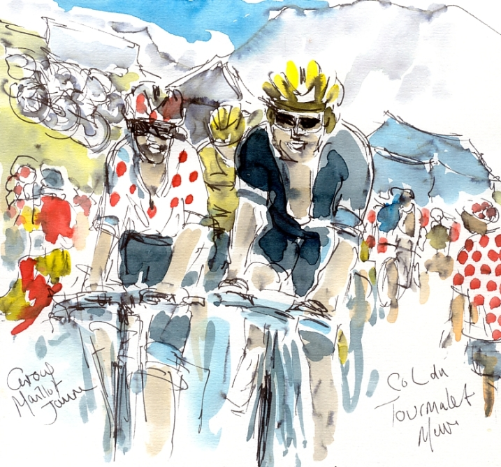 Cycling art, Tour de France, Watercolour painting Group Maillot Jaune, Col du Tourmalet, by Maxine Dodd