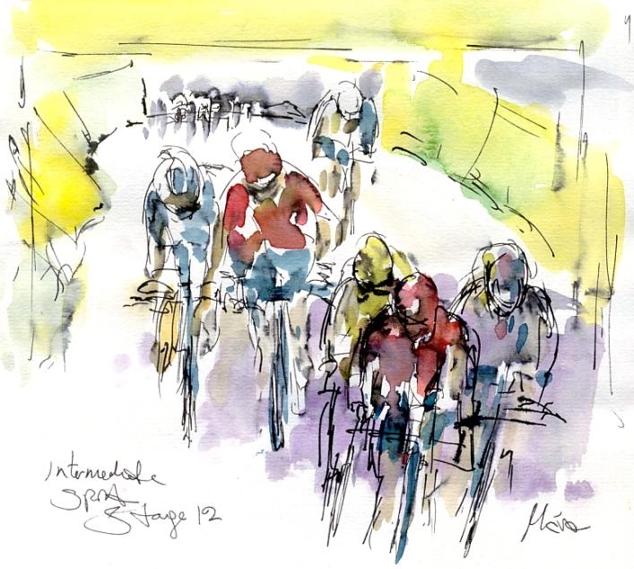 Cycling art, Tour de France, Watercolour painting Intermediate sprint, by Maxine Dodd