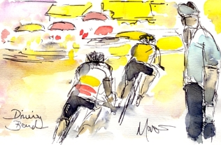 Cycling art, Tour de France, Watercolour painting Driving bend, by Maxine Dodd