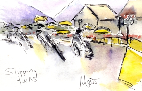 Cycling art, Tour de France, Watercolour painting Slippery turns, by Maxine Dodd