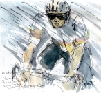 Cycling art, Tour de France, Watercolour painting Kwiatkowski, Elements being thrown everywhere and everyone, by Maxine Dodd