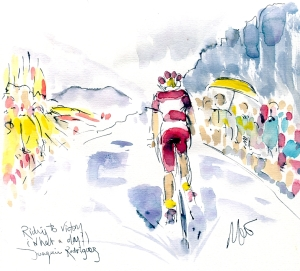 Cycling art, Tour de France, Watercolour painting Joaquim Rodriguez, Riding to victory, what a day! by Maxine Dodd