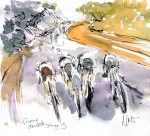 Cycling art, Tour de France, Watercolour painting Group descent, by Maxine Dodd