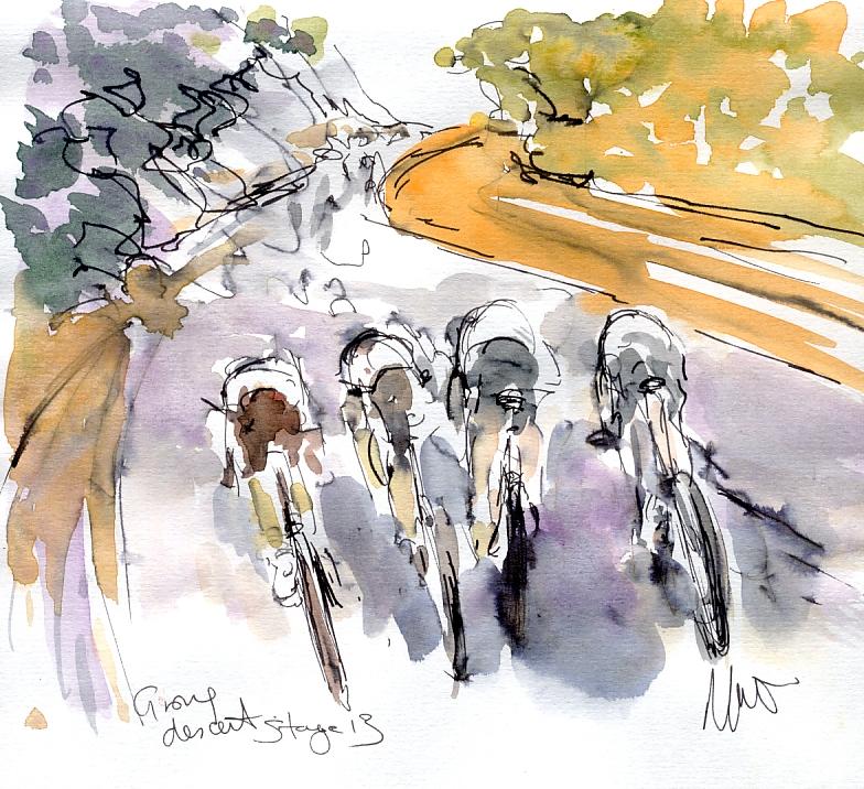 Cycling art, Tour de France, Watercolour painting Group descent, by Maxine Dodd