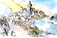 Cycling art, Tour de France, Watercolour painting Riding into a sunny town, by Maxine Dodd