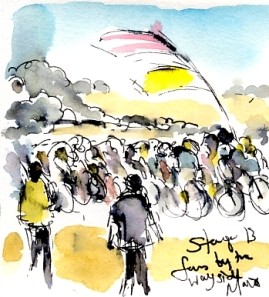 Cycling art, Tour de France, Watercolour painting Fans by the wayside, by Maxine Dodd