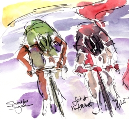Tour de France, Cycling art, Second for Sagan; First for Van Avermaet by Maxine Dodd