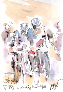 Cycling art, Tour de France, Watercolour painting FDJ climbing the hill, Stage 14 by Maxine Dodd