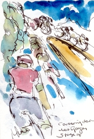 Cycling art, Tour de France, Watercolour painting Careering down Les Gorges du Tarn, Stage 14 by Maxine Dodd