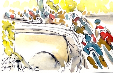 Cycling art, Tour de France, Watercolour painting Over the bridge, Stage 14 by Maxine Dodd