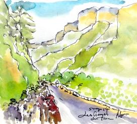 Cycling art, Tour de France, Watercolour painting Les Gorges du Tarn, Stage 14 by Maxine Dodd