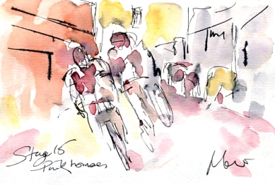 Cycling art, Tour de France, Watercolour painting Pink houses, Stage 15 by Maxine Dodd