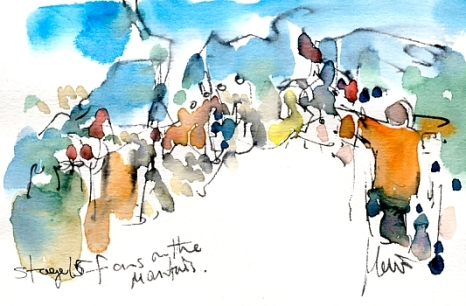 Cycling art, Tour de France, Watercolour painting Fans on the mountains, Stage 15 by Maxine Dodd