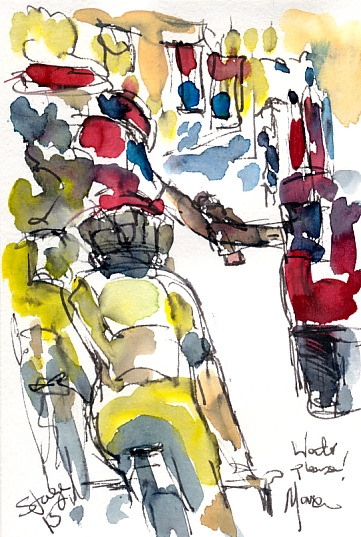 Cycling art, Tour de France, Watercolour painting Water please! Stage 15 by Maxine Dodd